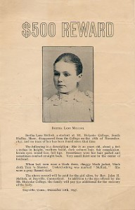 A missing poster for Bertha Mellish.